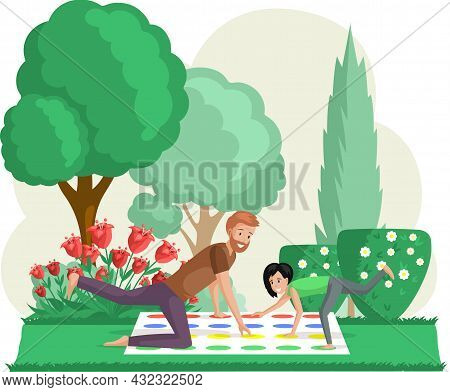 Father And Daughter Playing Twister Game. Man And Woman Happy Family In Everyday Life At Park. Young