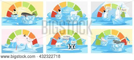 Global Warming, Environment Pollution, Global Warming Heating Impact. Change Climate. Penguins And P