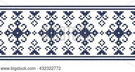Zmijanjski Vez Traditional Vector Folk Art Seamless Lonng Horizontal Pattern - Textile Or Fabric Pri