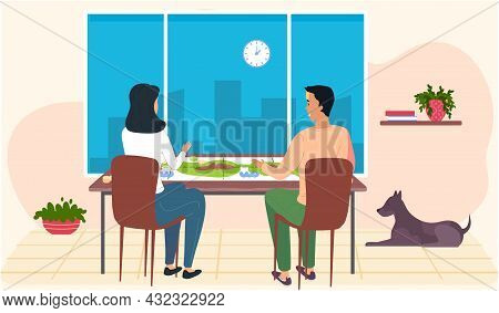 Happy Family Or Friends Man And Woman Sitting At Table And Playing Strategy Logical Board Card Game,
