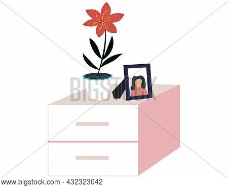 Elements Of Living Room With Commode, Houseplant Potted Flower, Photo In Frame. Indoor Furniture Des