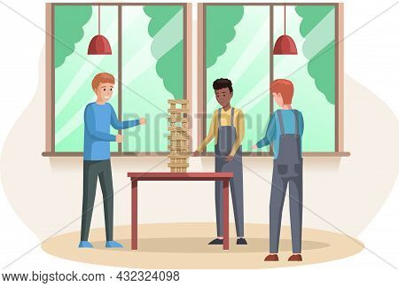 Man Playing Jenga At Home Together. People With Board Game Indoor. Male Character Is Playing With Lo