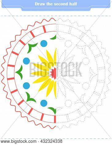 Educational Game For Children. Circle And Color The Second Part Of The Shapes. Vector Illustration