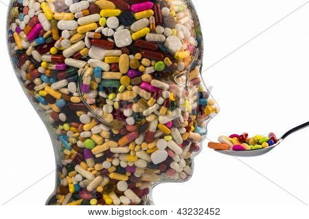 a head made of glass filled with many tablets. photo icon for drugs abuse and addiction tablets. poster