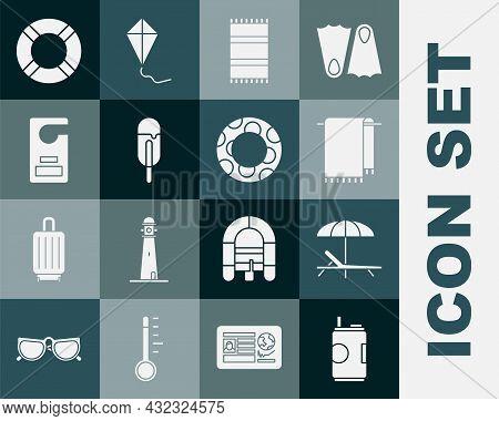 Set Soda Can, Sunbed And Umbrella, Towel On Hanger, Beach Towel, Ice Cream, Please Do Not Disturb, L