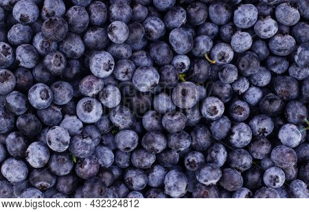 Blue Toned Fresh Blueberry Berries Background Pattern Close Up, Top View