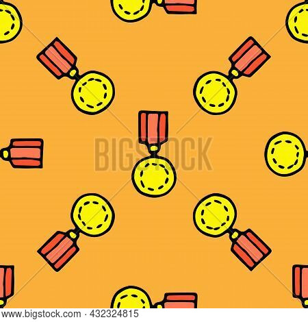 Vector Pattern Of A Gold Medal On A Red Ribbon In A Flat Style. The Seamless Pattern Of The Order Is