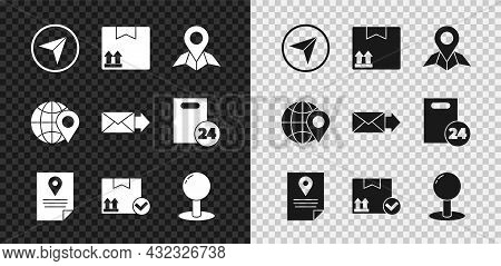Set Infographic Of City Map Navigation, Cardboard Box With Traffic Symbol, Placeholder Paper, Docume