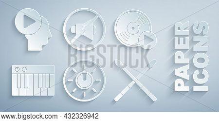 Set Dial Knob Level Technology Settings, Vinyl Disk, Music Synthesizer, Drum Sticks, Speaker Mute An