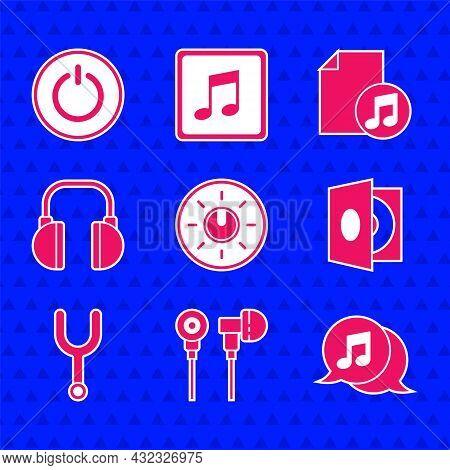 Set Dial Knob Level Technology Settings, Air Headphones, Musical Note Speech Bubble, Vinyl Player Wi