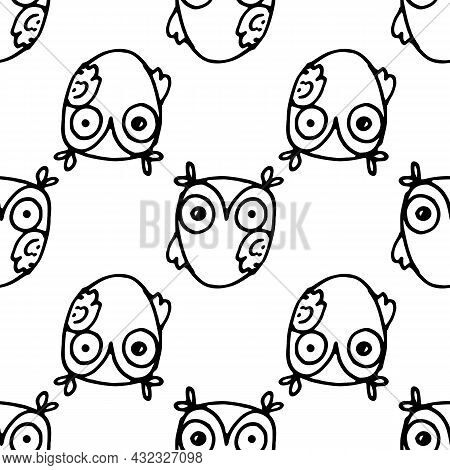 Colorful Doodle Owl With In Beautiful Style On White Background. Floral Pattern. Black Color.vector