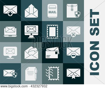 Set Envelope With Star, Delete Envelope, Mail Box, Monitor And, Laptop, Received Message Concept And