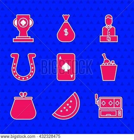 Set Playing Card With Spades, Casino Slot Machine Watermelon, Slot, Champagne An Ice Bucket, Wallet,