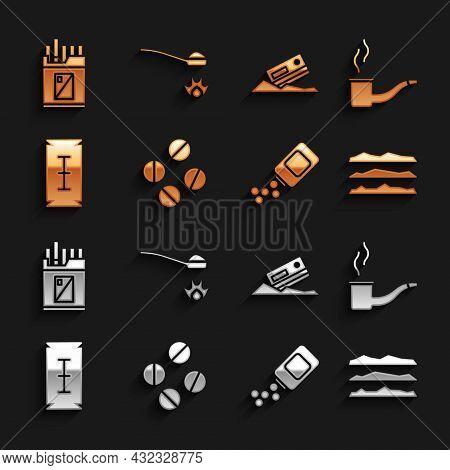 Set Medicine Pill Or Tablet, Smoking Pipe, Cocaine Heroin Drug, Bottle And Pills, Blade Razor, Credi