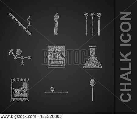 Set Cigarettes Pack Box, Opium Pipe, Poppy, Test Tube And Flask, Lsd Acid Mark, Cannabis Molecule, M