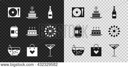 Set Vinyl Player With A Vinyl Disk, Cake Burning Candles, Champagne Bottle, Mixed Punch Bowl, Shoppi