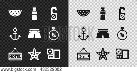 Set Watermelon, Bottle Of Water, Please Do Not Disturb, Signboard With Text Hotel, Starfish, Photo C