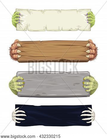 Vampire, Werewolf, Skeleton And Zombie Cartoon Hands With Banners And Scrolls. Halloween Monsters Ch