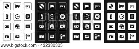 Set Movie, Film, Media Projector, 3d Word, Remote Control, Cd Dvd Disk, Spotlight, Megaphone, Online
