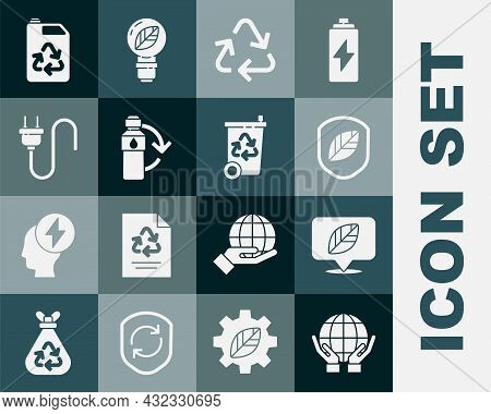 Set Hands Holding Earth Globe, Location With Leaf, Shield, Recycle Symbol, Recycling Plastic Bottle,