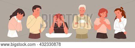Sad Depressed People Set, Mental Health Anxiety Problem, Unhappy Depressed Teens