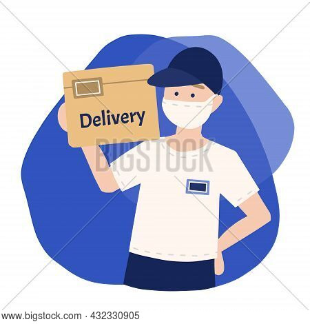 Delivery Of Goods During The Prevention Of Coronovirus, Covid-19. Courier In A Face Mask With A Box
