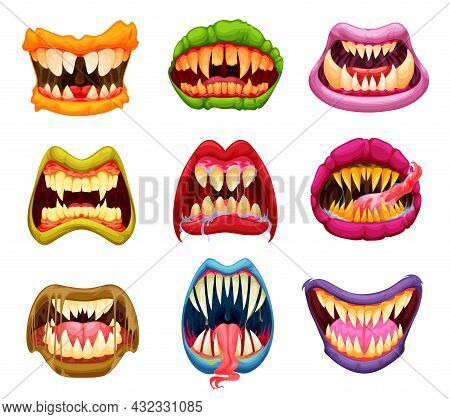 Cartoon Monster Mouth, Teeth And Tongue, Jaws With Sharp Fangs. Halloween Masks With Horror Creature