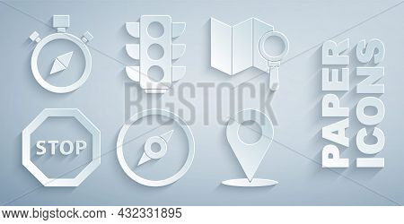 Set Compass, Search Location, Stop Sign, Location, Traffic Light And Icon. Vector