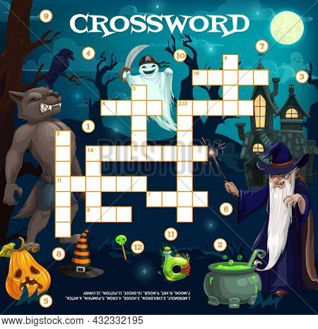 Cartoon Halloween Characters Crossword Grid Or Find Word Vector Quiz With Werewolf, Sorcerer, Pirate