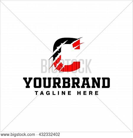 Letter C Logo Design With Red Claw Scratch Vector Illustration