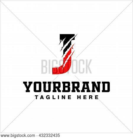 Claw Marks On Letter J Logo Design With Vector Illustration
