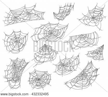 Halloween Isolated Spiderweb And Cobweb Nets Set. Spiders Hanging And Waving On Wind Sticky Web Trap