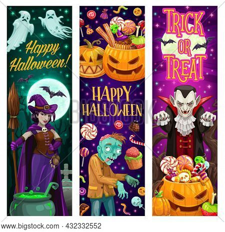 Happy Halloween Trick Or Tread Banners With Monsters And Sweets. Witch With Broom, Zombie And Dracul