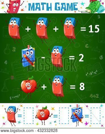 Math Game Worksheet, Cartoon Eraser, Red Apple And School Textbook, Vector Education Maze. Kids Acti