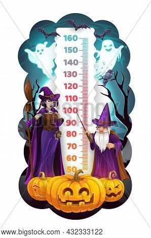 Halloween Kids Height Chart With Cartoon Wizard And Witch. Child Growth Measure Vector Scale With Ha