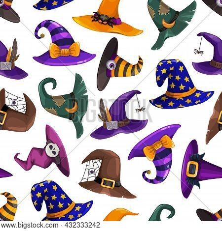 Cartoon Wizard, Sorcerer And Witch Hats Seamless Pattern. Halloween Vector Background, Fairytale Hat