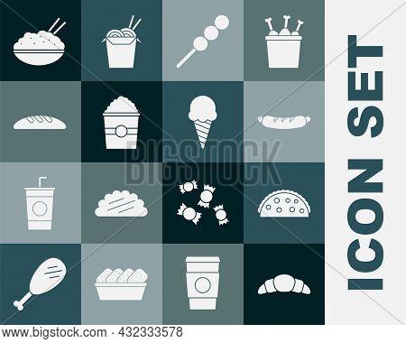 Set Croissant, Taco With Tortilla, Hotdog Sandwich, Meatballs On Wooden Stick, Popcorn In Box, Bread