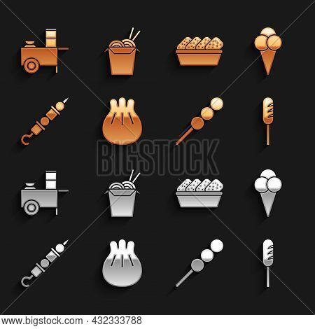 Set Khinkali On Cutting Board, Fried Sausage, Meatballs Wooden Stick, Grilled Shish Kebab, Chicken N