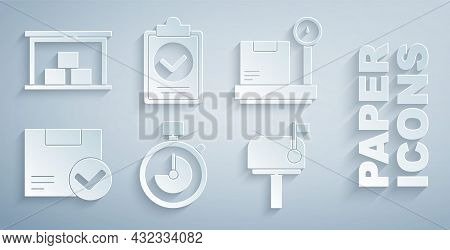 Set Stopwatch, Scale With Cardboard Box, Package Check Mark, Mail, Verification Of Delivery List Cli