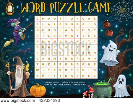 Halloween Word Puzzle Worksheet With Cartoon Sorcerer, Witch, Pumpkin And Ghosts. Kids Word Quiz Or