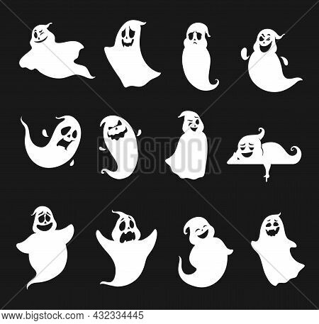 Funny And Scary Cartoon Halloween Ghost Silhouettes For Holiday Stickers. Halloween Flying And Lying