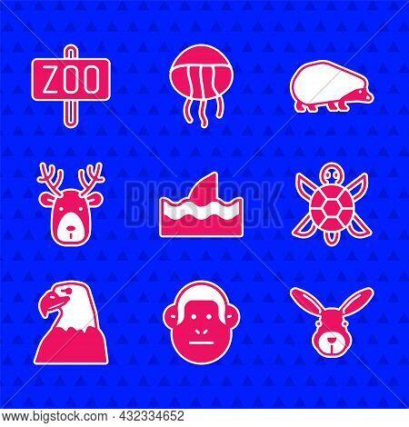 Set Shark Fin In Ocean Wave, Monkey, Rabbit Head, Turtle, Eagle, Deer With Antlers, Hedgehog And Zoo