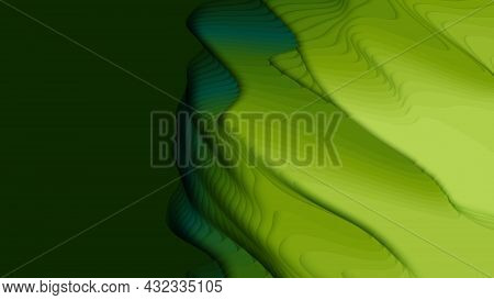 Green Paper Layers. 3d Abstract Gradient Papercut. Colorful Origami Shape Concept