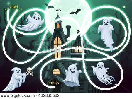 Kids Maze Game With Halloween Ghosts Characters At Spooky Haunted Castle At Night. Vector Labyrinth