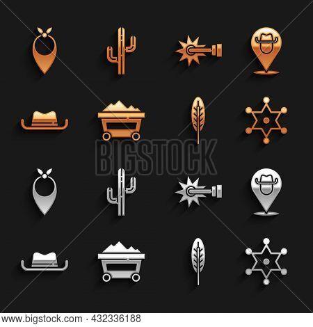 Set Coal Mine Trolley, Location Cowboy, Hexagram Sheriff, Indian Feather, Western Hat, Spur, Cowboy