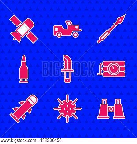 Set Military Knife, Naval Mine, Binoculars, Dynamite And Timer Clock, Rocket, Bullet, Medieval Spear