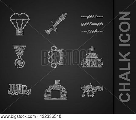 Set Brass Knuckles, Military Barracks, Cannon, Stop War, Truck, Reward Medal, Barbed Wire And Box Fl