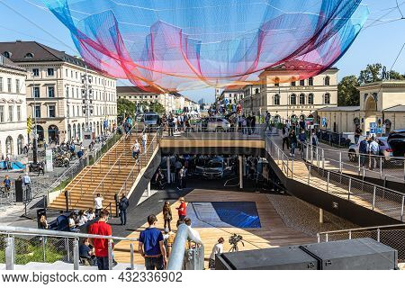 Munich, Germany - Sep 08, 2021: Iaa Mobility Open Space. Mercedes Benz Motor Show At Odeon Square. F