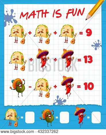 Math Game Worksheet With Catoon Mexican Tacos, Avocado And Chili Pepper, Vector Education Maze. Kids