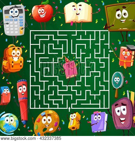 Labyrinth Maze With School Characters, Kids Riddle Worksheet Game, Vector. Find Way Out Tabletop Lab